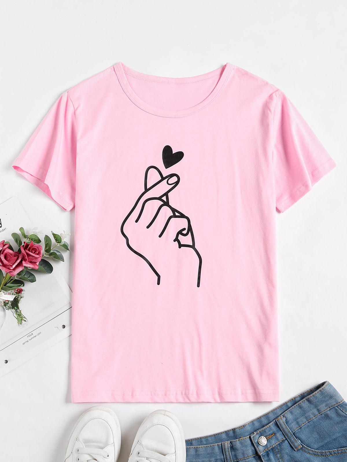 Heart Finger Short Sleeve T-shirt thumbnail