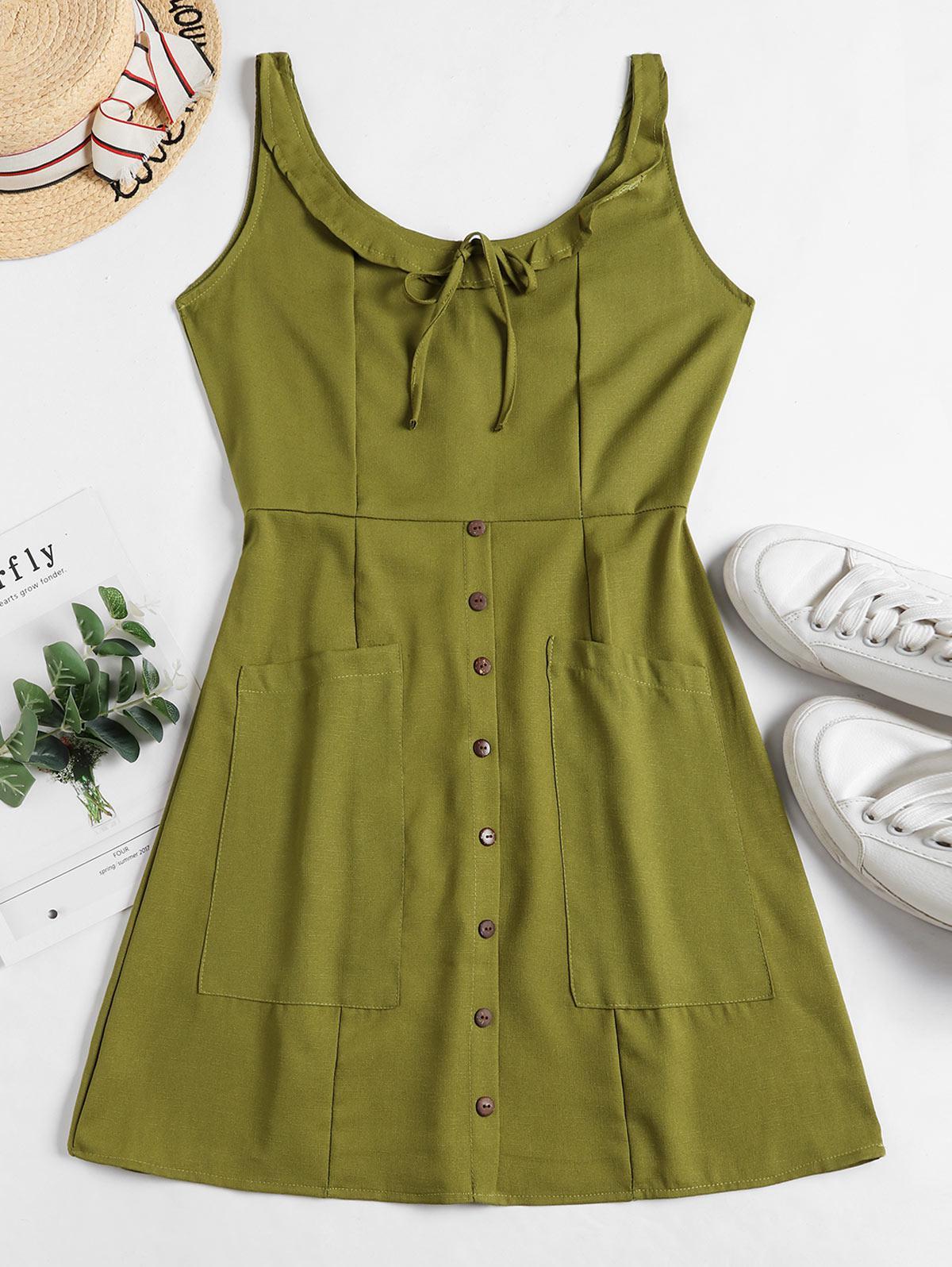 Buttons Tied Pockets Sleeveless Dress