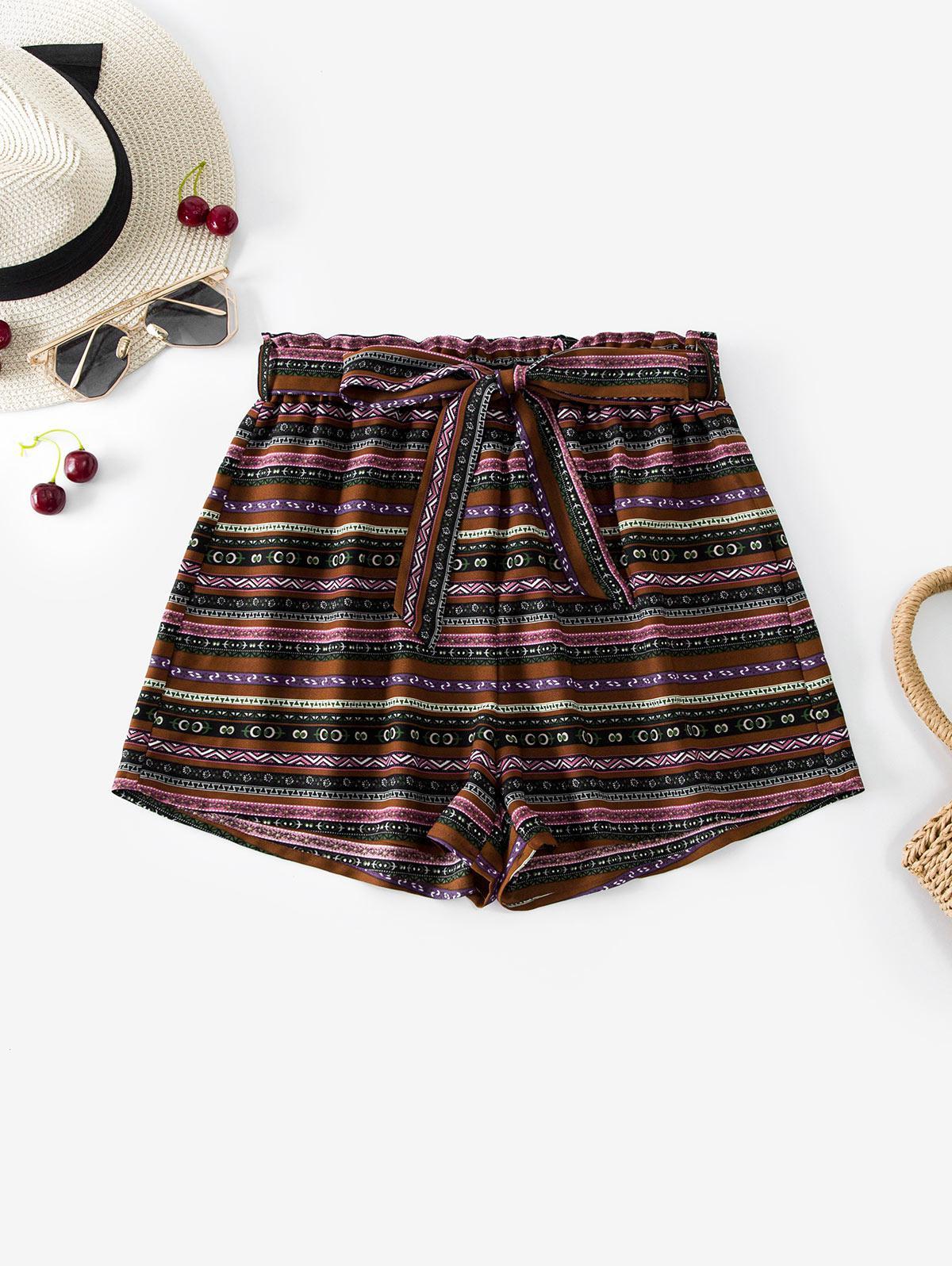 ZAFUL Belted High Waisted Bohemian Print Shorts