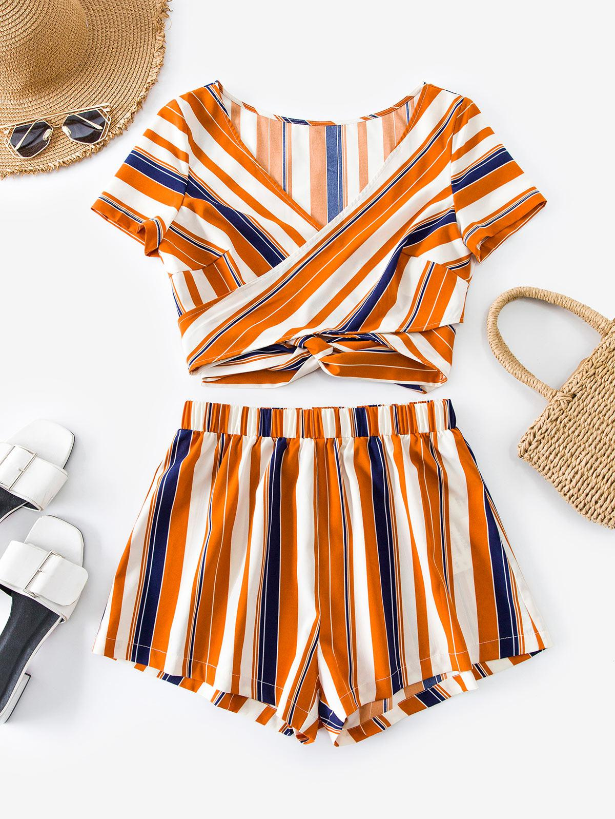 ZAFUL Striped Wrap Crop Top with Loose Shorts Set