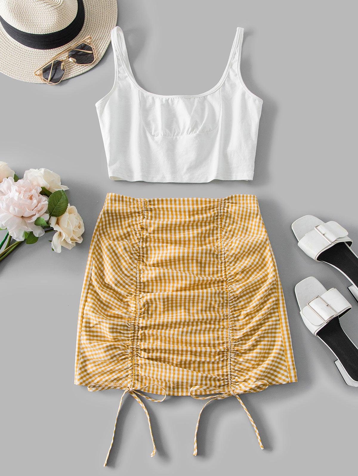 ZAFUL Cinched Gingham Two Piece Dress