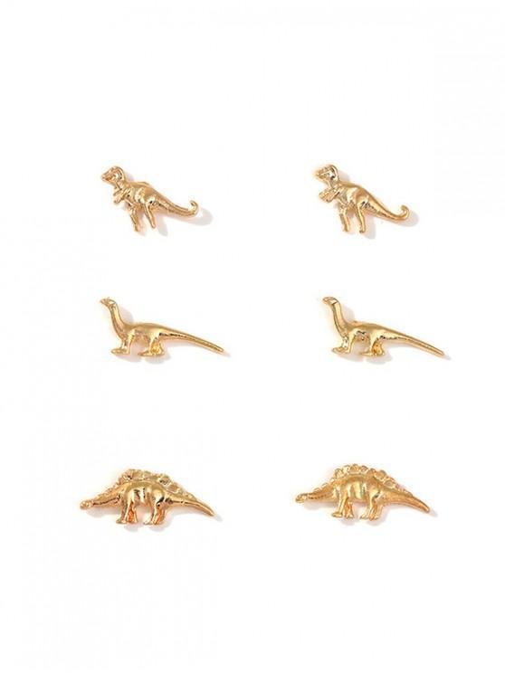 Aretes de Metal de Dinosaurio - Oro