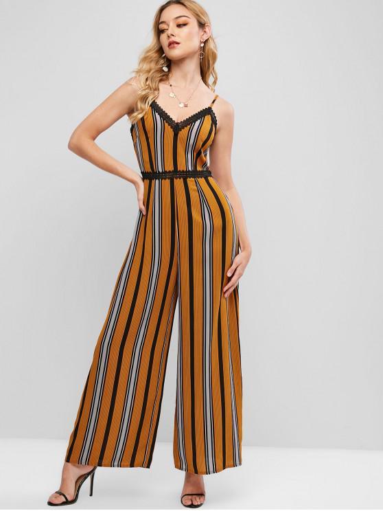 women ZAFUL Cami Lace Trim Stripes Wide Leg Jumpsuit - MULTI S