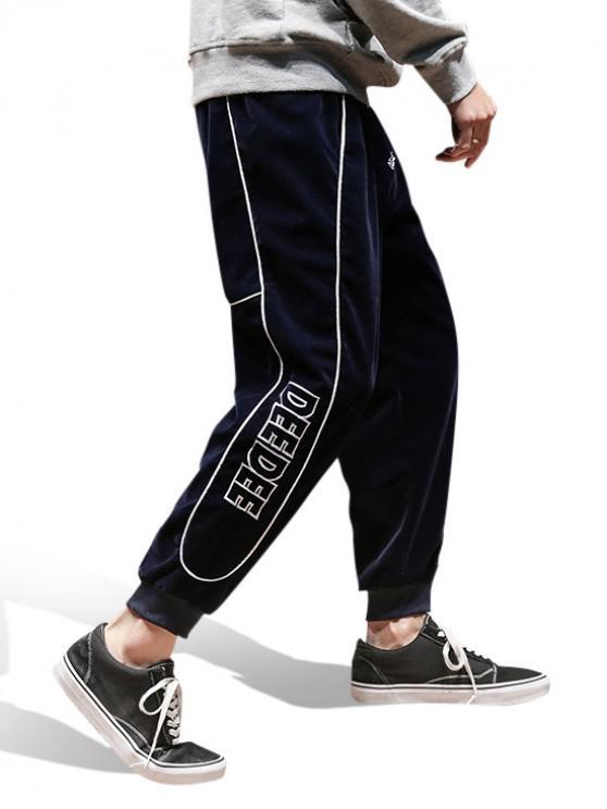 hot Letter Embroidery Velvet Jogger Pants - CADETBLUE M