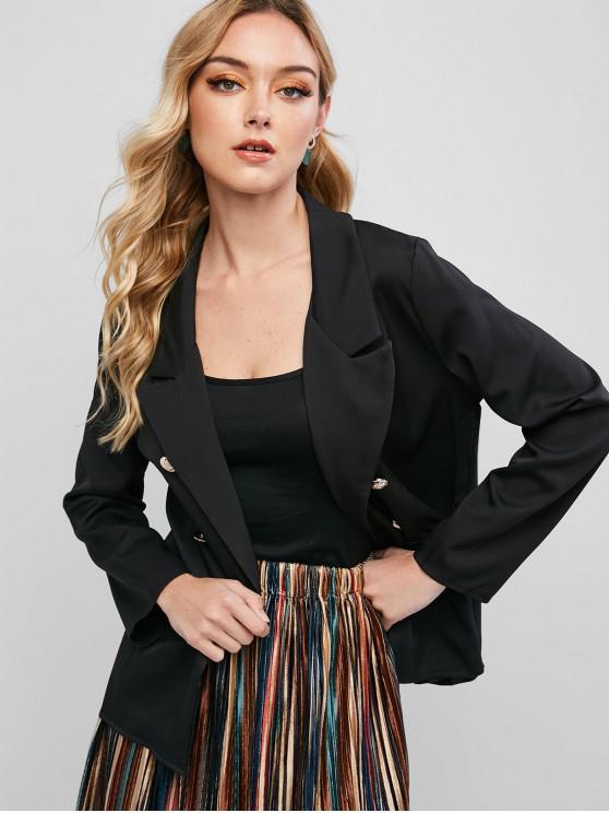 unique Faux Flap Pockets Double Breasted Blazer - BLACK S