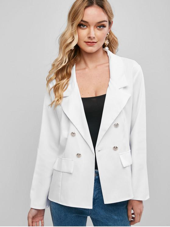 new Faux Flap Pockets Double Breasted Blazer - WHITE M