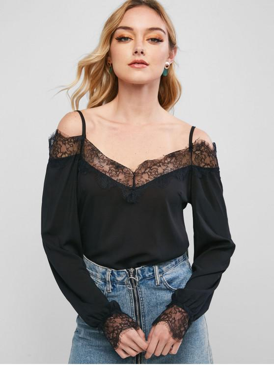 best Lace Trim Long Sleeve Cold Shoulder Blouse - BLACK S