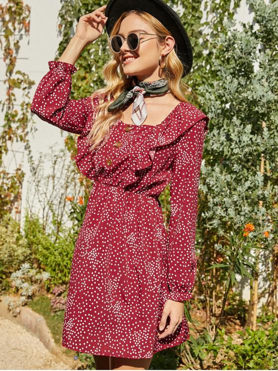 unique Buttoned Polka Dot Ruffle Long Sleeve Dress - RED L