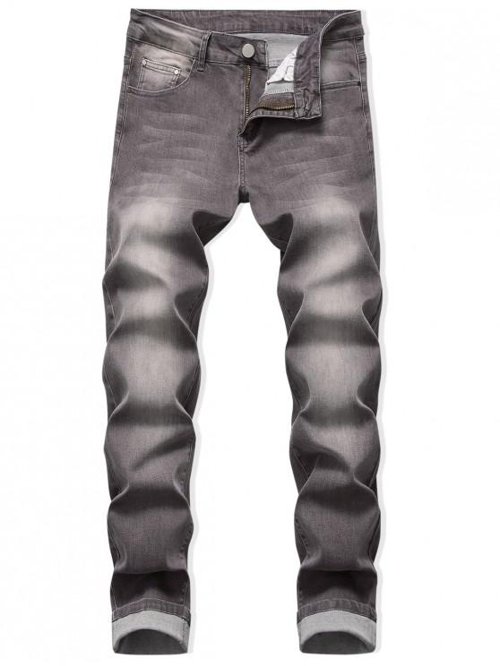 women's Zip Fly Long Faded Wash Denim Pants - PUCE 42