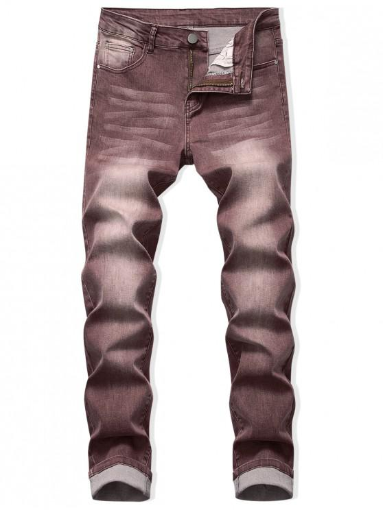 hot Faded Wash Long Straight Jeans - PUCE 42