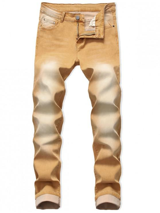 ladies Zip Fly Long Faded Wash Jeans - BEE YELLOW 42