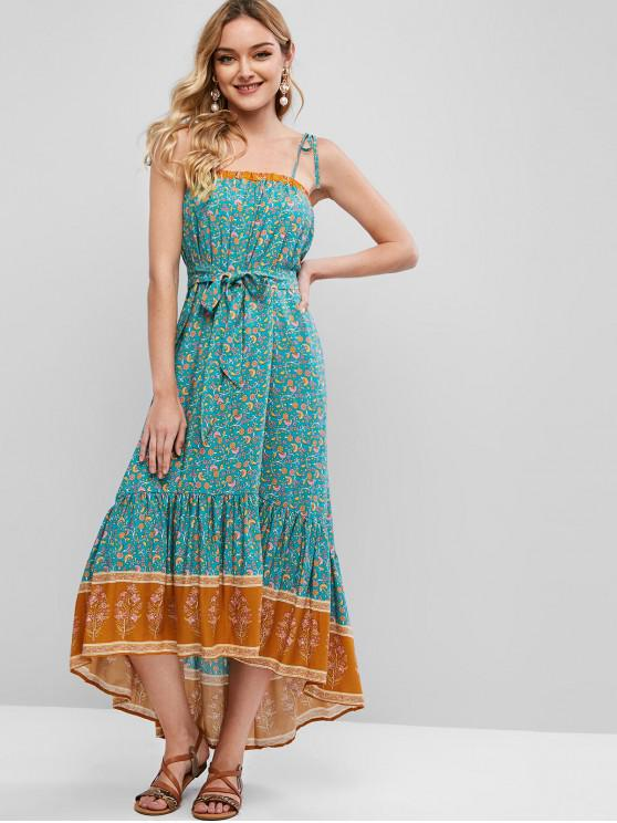 unique Tiny Floral Belted High Low Cami Dress - MACAW BLUE GREEN S