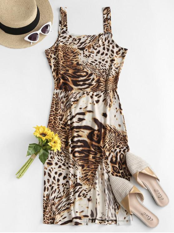 ladies ZAFUL Leopard Slit Tank Dress - LEOPARD M
