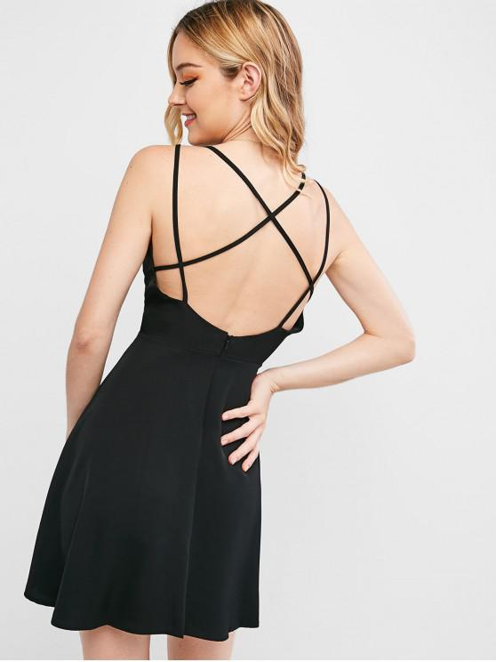 lady Crisscross Backless Skater Dress - BLACK L