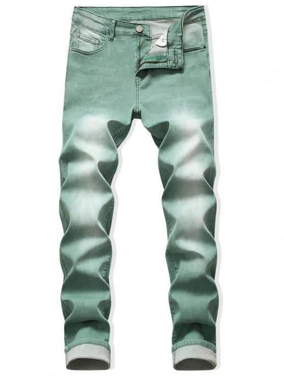 trendy Faded Wash Zip Fly Long Jeans - CYAN OPAQUE 32