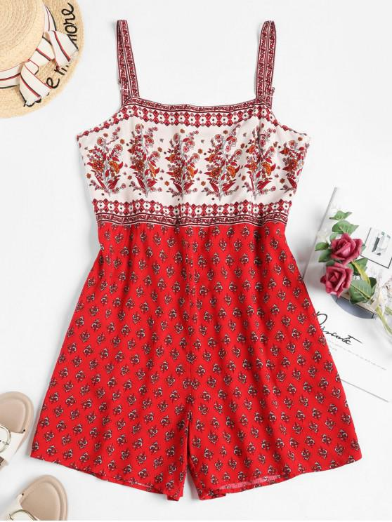 unique Sleeveless Floral Smocked Back Romper - RED S