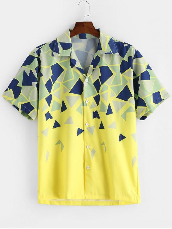 Camisa de Botón de Impresión Geométrica de Vacaciones - Amarillo 2XL