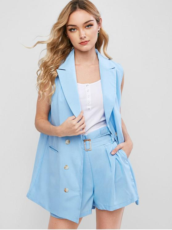 women's Belted Double Breasted Two Piece Set - LIGHT BLUE S