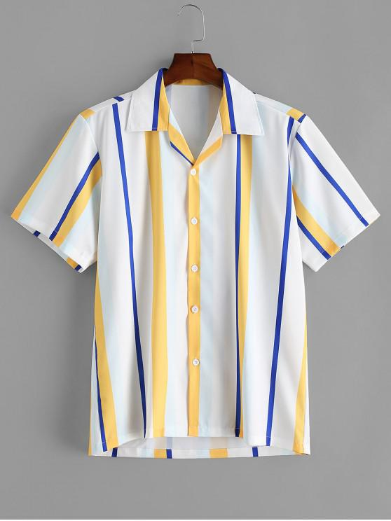 affordable Colorblock Striped Short Sleeve Button Shirt - WHITE L