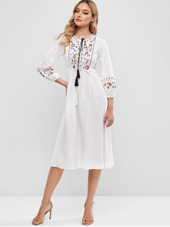 Ricamato coulisse in vita Dress Peasant - Bianca M