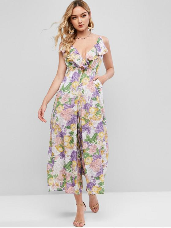 womens Floral Smocked Back Ruffles Jumpsuit - MULTI-A M