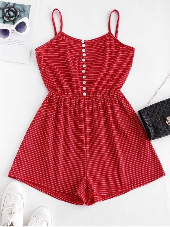best Striped Button Loop Casual Cami Romper - RED M