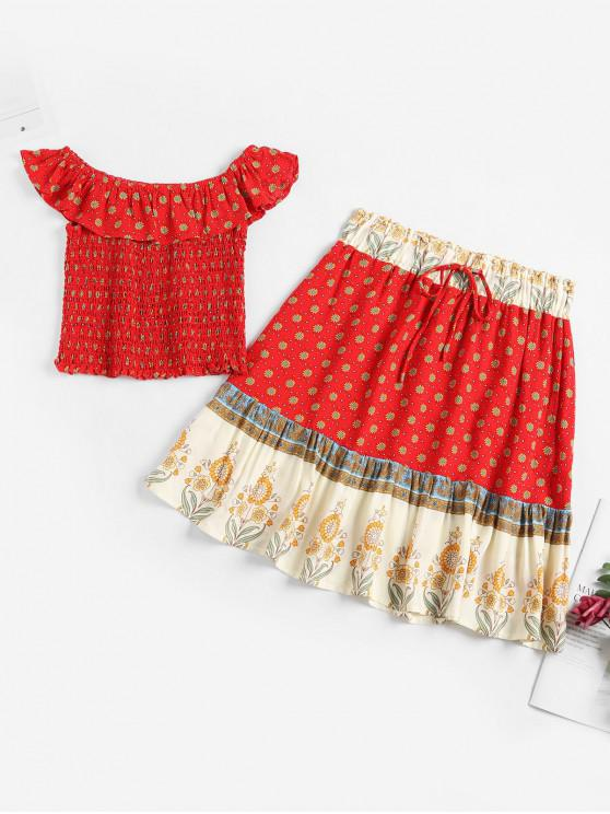 chic Tiny Floral Smocked Ruffles Two Piece Suit - RED L