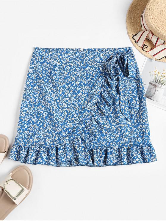 latest Tiny Floral Ruffles Overlap Skirt - BLUE S