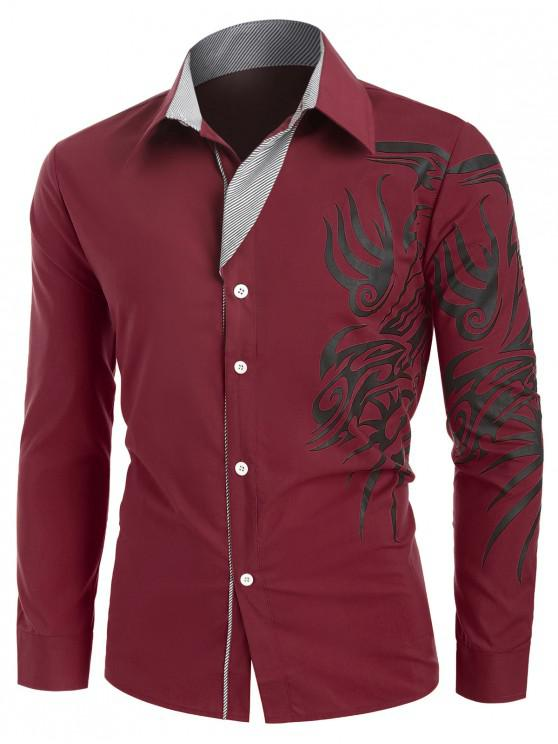 buy Tattoo Print Button Up Long Sleeve Shirt - RED XL