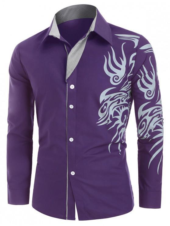 sale Tattoo Print Button Up Long Sleeve Shirt - PURPLE XL