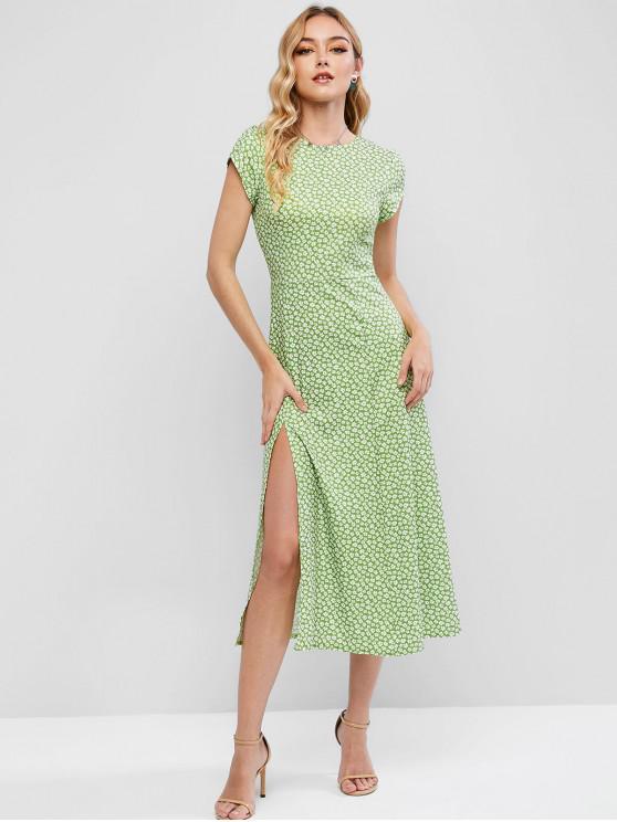 women Cut Out Back Ditsy Floral Slit Midi Dress - GREEN M