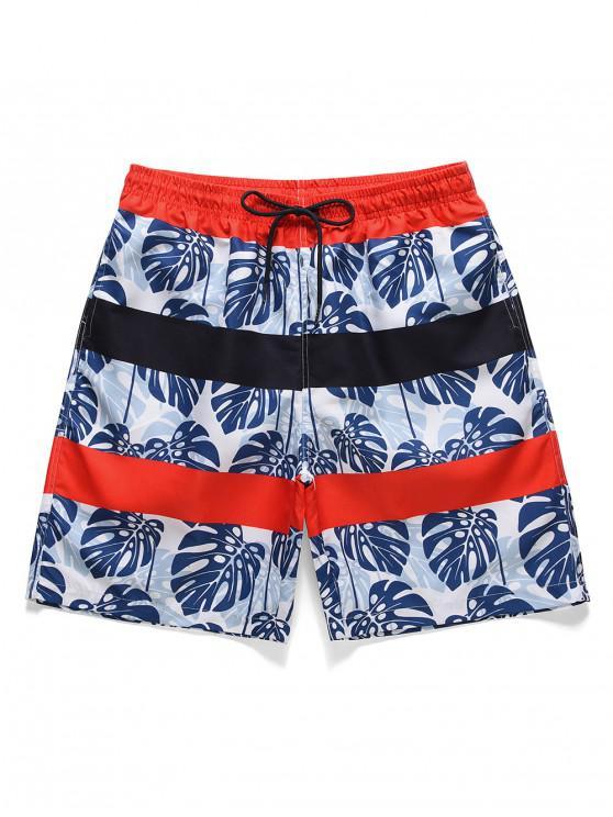 Leaf Print Drawstring Casual Board Shorts - ازرق غامق XL