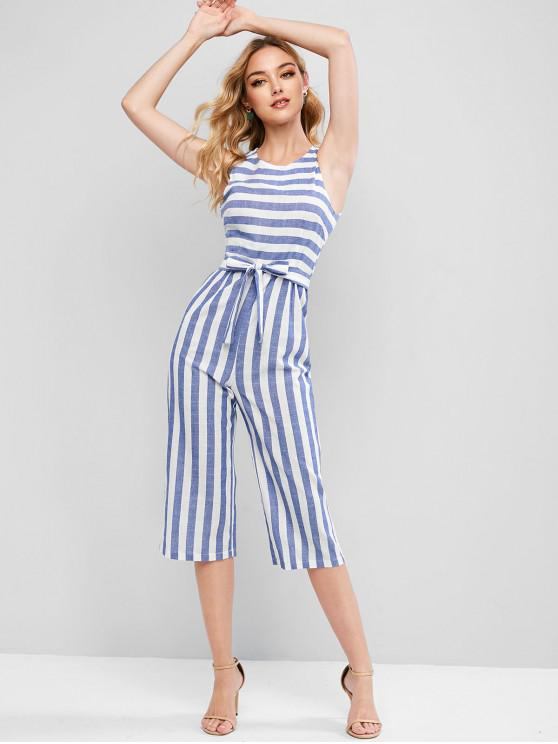womens Striped Sleeveless Capri Jumpsuit - MULTI-A M
