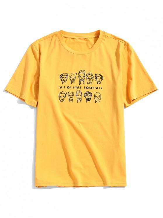 ZAFUL Men Portraits Print Short Sleeve T-shirt - أصفر فاقع L