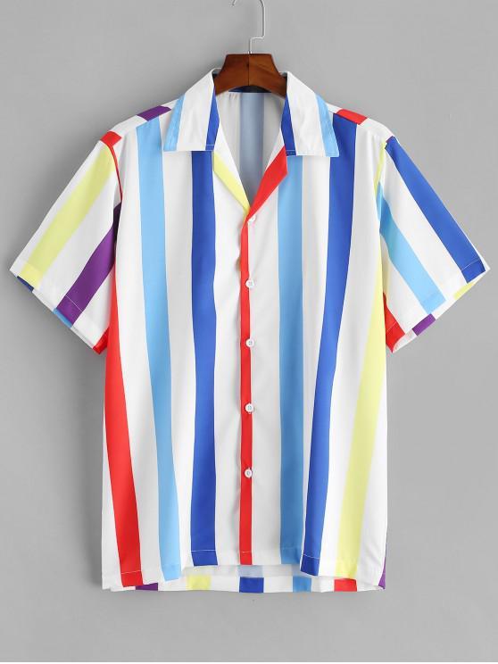 fashion Button Up Colored Stripes Shirt - MULTI-A XL