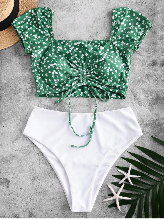 outfit ZAFUL Ditsy Print Cinched Two Piece Swimsuit - MEDIUM FOREST GREEN S