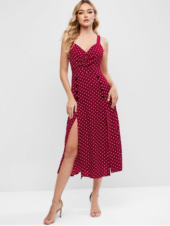 fancy Buttons Polka Dot Ruched Sleeveless Dress - RED L