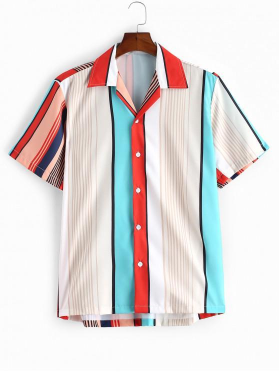 Camisa a Rayas con Botón de Color Bloque - Multicolor-A M