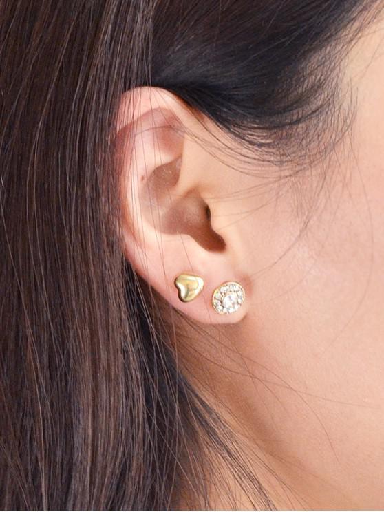 Perlas de imitación del Rhinestone del corazón del pendiente geométrica - Oro