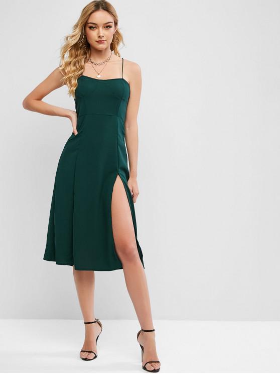 ladies Criss Cross Smocked Back Slit Cami Dress - DEEP GREEN S