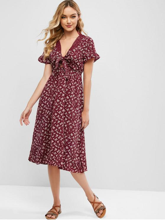 outfits Ditsy Floral Tie Front Lace Trim Midi Dress - RED WINE S