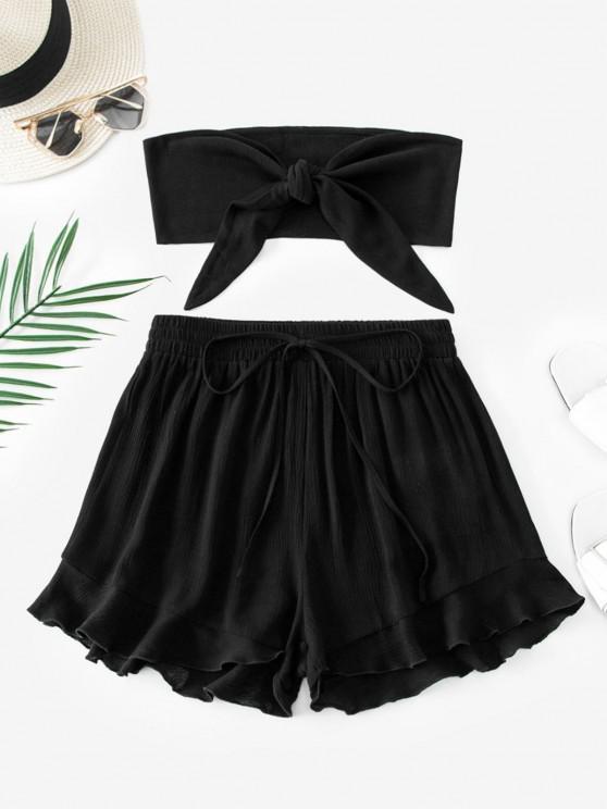 ladies ZAFUL Tie Front Ruffle Strapless Shorts Set - BLACK M