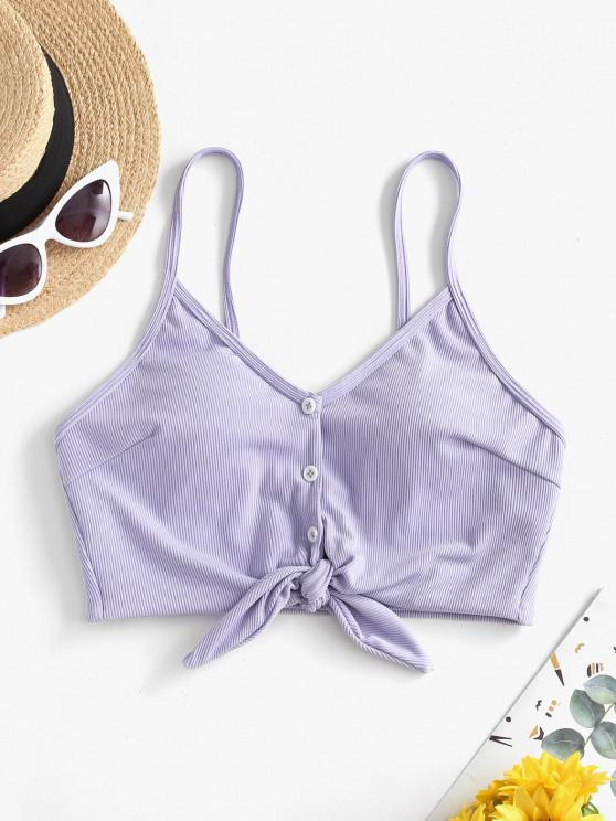ZAFUL Ribbed Knotted Mock Button Bikini Top - أزرق لافندر L