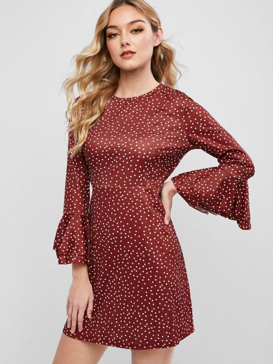 fashion Button Loop Dots Flare Sleeve Mini Dress - RED WINE L