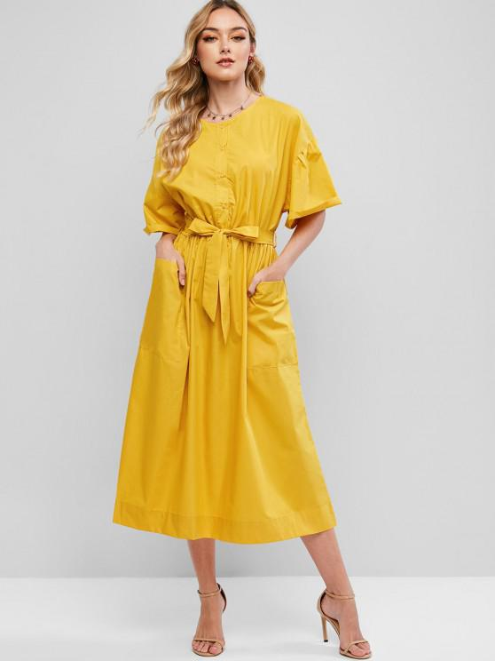 trendy Patch Pocket Tea Length Shirt Dress - BRIGHT YELLOW L
