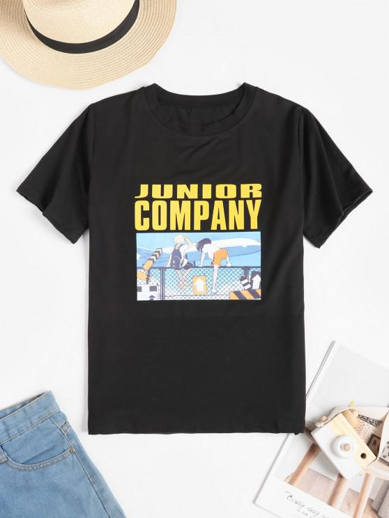 fancy Funny Slogan Cartoon Graphic Tee - BLACK M