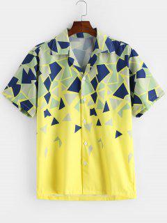 Geometric Print Button Vacation Shirt - Yellow L