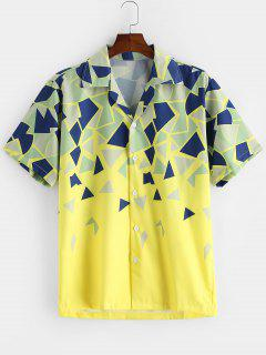 Geometric Print Button Vacation Shirt - Yellow 2xl