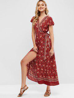 Printed Bohemian Maxi Wrap Dress - Red L