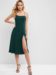 Criss Cross Smocked Back Slit Cami Dress - Deep Green M